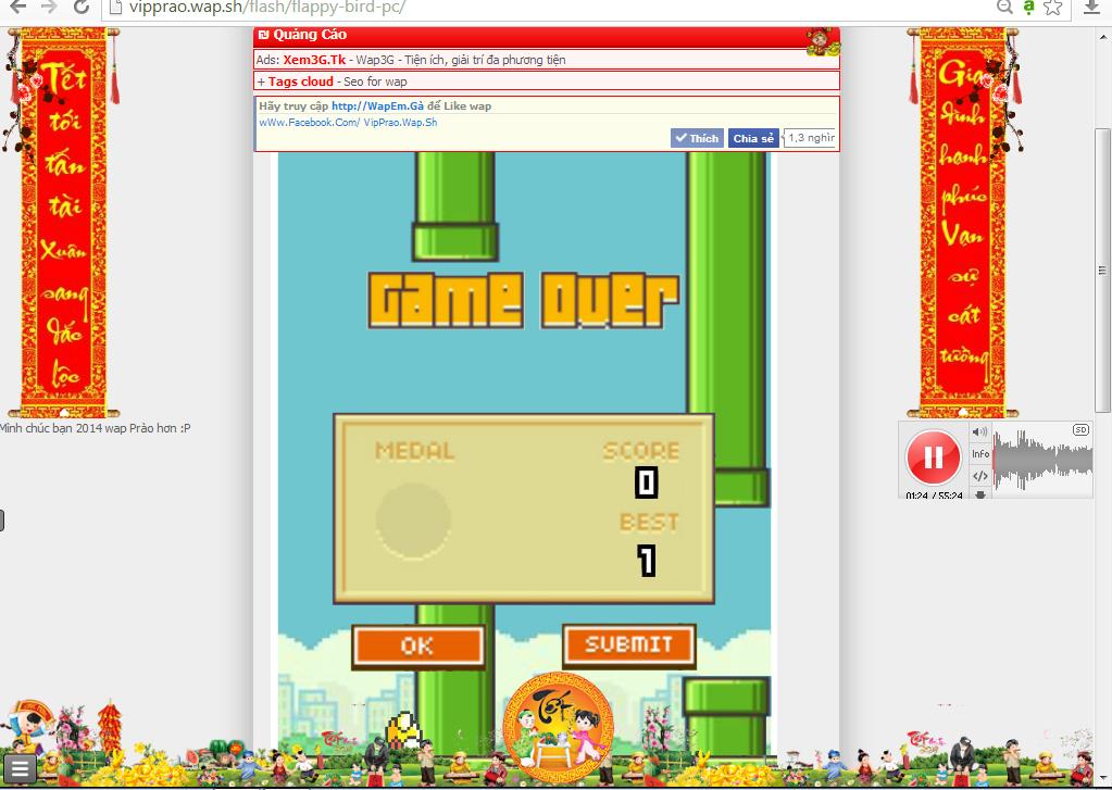 Code chơi game flash Flappy Bird online trên wap/web
