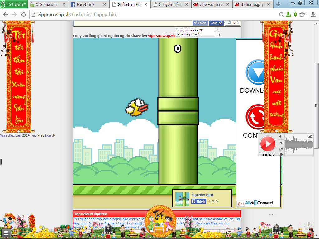Share code chơi game giết chim Flappy Bird trên pc wap/website