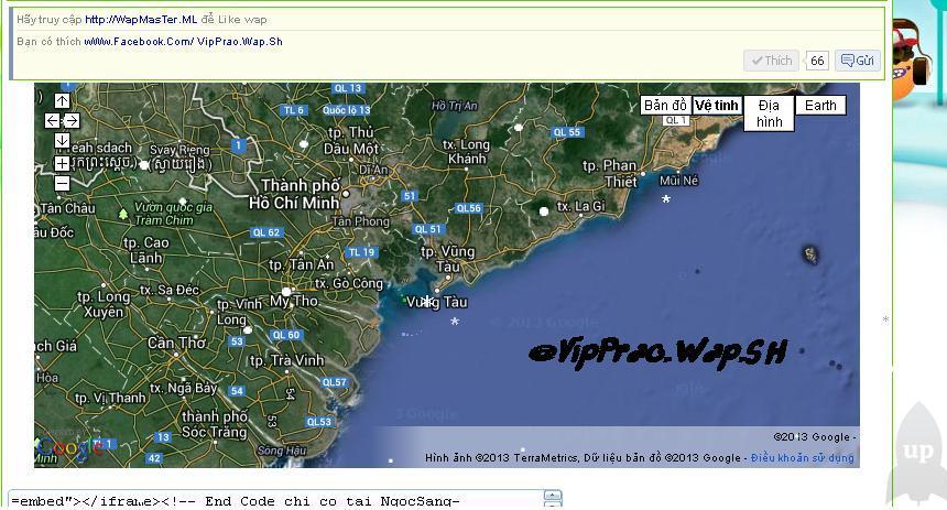 Code xem bản đồ thế giới trực tuyến cho wap/web