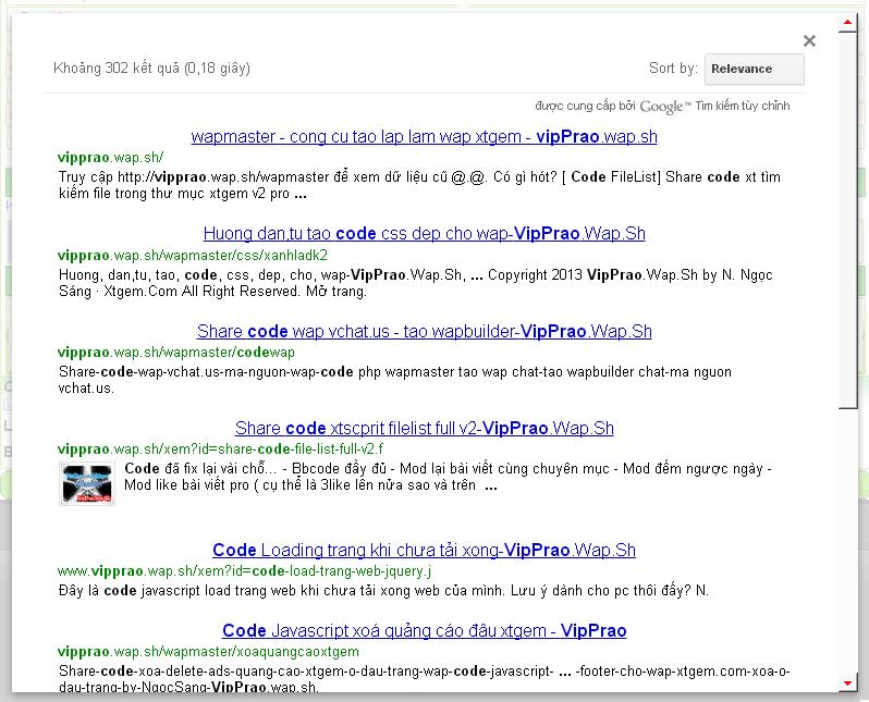 Code tìm kiếm google ngay trên wap